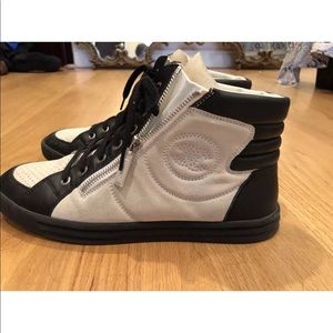 CHANEL black & ivory high top sneakers